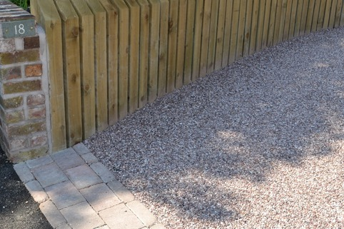 Retaining wall and stabilised gravel driveway in Altrincham