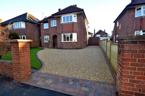 Stabilised Gravel driveway with tegula paving and rumble strip in Chester